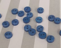 20 Tiny Miniature 6mm 2 Hole Buttons - Royal Blue