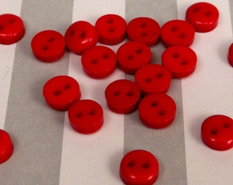 20 Tiny Miniature 6mm 2 Hole Buttons - Red