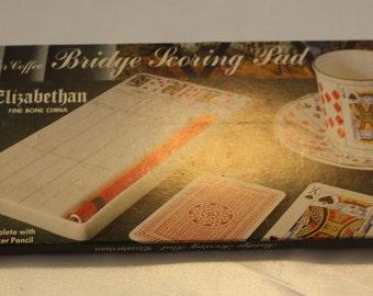Vintage Bridge Scoring Pad Elizabethan Fine Bone China with Pencil Marker
