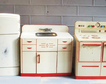 Vintage Toy Kitchen from Wolverine / Refridgerator / Stove and Sink / Art deco Child's Toy / Red and White