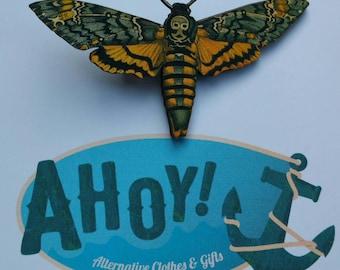 Laser Cut Wood Deaths Head Moth Brooch