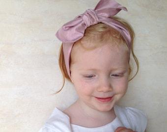 Girls Head Wrap Scarf in Lilac Crushed Silk