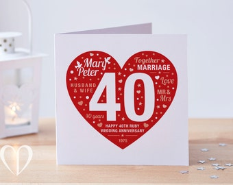 Personalised 40th Ruby Anniversary Card, Ruby Card, 40 Anniversary Card, Custom Card, Ruby Anniversary Card, 40th Anniversary Card, 40 Card