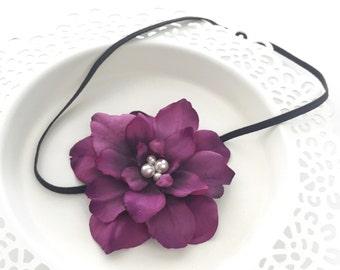 Eggplant Headband, Purple Baby Headband, Flower Headband Wedding, Newborn Photo Prop, Flower Headband Adult