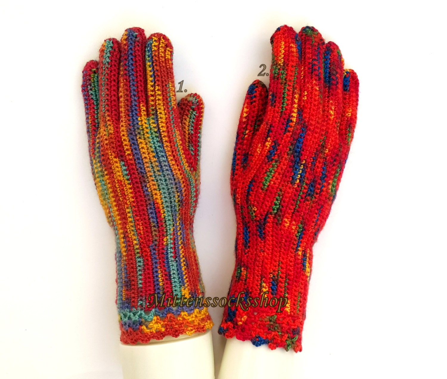 Hand knitted gloves with fingers Hand knitted by ...