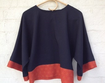 ON SALE ladies kimono style top,pure wool, with vintage kimono trim,one only size S, blouse, tunic,black and orange,loose fit,oversize