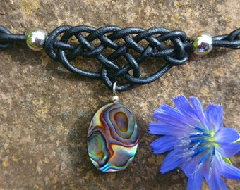 Lichens form with a short leather necklace abalone pendant