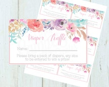 Floral Diaper Raffle Tickets, Baby Shower Printables, INSTANT DOWNLOAD