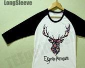 Dear Flower Expecto Patronum Shirt Harry Potter Shirt Top TShirt Raglan Baseball 3/4 Sleeve Black White Size S M L
