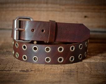 Leather eyelet Belt, Full Grain Leather Belt, Brown Leather Belt,