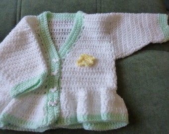 Hand Crochet Baby Girl Cardigan with frill at the bottom 0 - 3 months