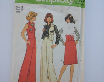 Pant suits for Women / A line skirt /vest with pockets / vintage / sewing patterns / 1970s pattern/ disco / 1970s pants / Simplicity 7489