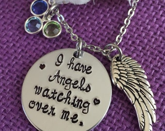 Memorial Jewelry Necklace  - I have angels watching over me - Remembrance Necklace - Memorial Jewelry - Sympathy Gift