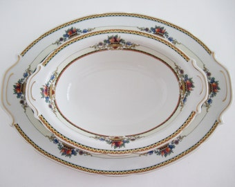 Victoria Czech Admiral China Oval Serving Platter and Vegetable Bowl, Replacement, Home Deco