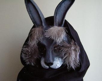 Animal Mask Rabbit Mask Hare Mask Halloween Mask Masquerade Mask Animal Head Paper Mache Mask Face Mask