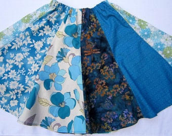 Girls Teal Floral Twirly Skirt in Size  10 to 12