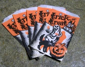 Vintage Halloween Treat Bags - Set of 5