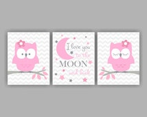 I love you to the moon and back, Owl, Chevron, Pink and Gray, Set of 3, 8x10, instant download