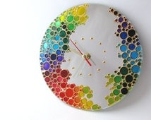 The Rainbow Bubbles Hand Painted Mirror Wall Clock