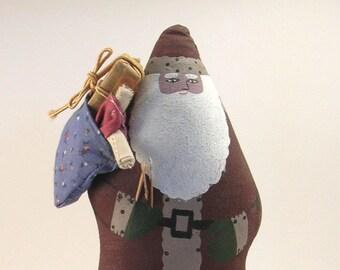 SALE Vintage Santa Folk Art, Handmade, Hand Painted, Cloth