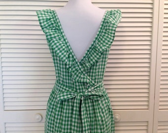 Vintage Green and White Gingham Checkered Wrap Around Apron Dress