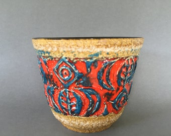 Ü-Keramik / Uebelacker Ceramic planter, stunning orange /red and blue Vintage  1970s Mid Century  West Germany Pottery. WGP.