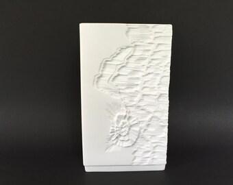 Kaiser square bisque Porcelain, fossil decor,  Mid Century Modernist 1970s vase  West Germany.