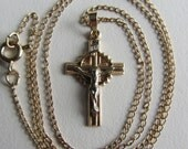 14k Yellow Gold Cross on a 10k Yellow Gold Chain Necklace 16.5""