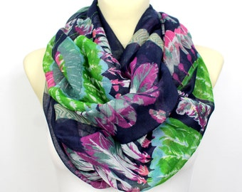 Feather Loop Scarf Feather Circle Scarf Feather Infinity Scarf Blue Feather Scarf Feather Print Scarf Summer Outdoors, Summer Party