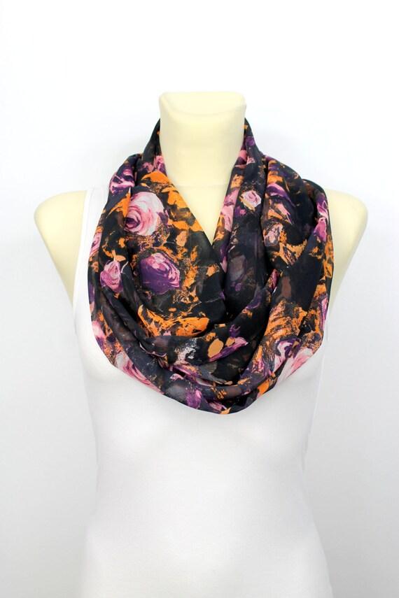 Floral Fashion Scarf - Pink & Black Infinity Scarf - Loop Scarf - Circle Fabric Scarf - Women Shawl - Tube Unique Scarf - Boho Scarf