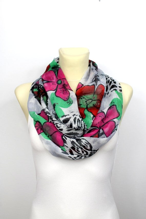 Boho Infinity Scarf Floral Infinity Scarf Bohemian Loop Scarf Gift Mom Wife Grandmother Gifts Spring Celebrations Mothers day from Daughter