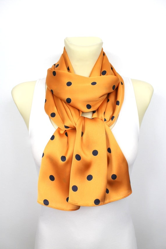 Polka Dots Scarf - Orange Infinity Scarf - Fashion Scarf - Fabric Scarf - Women Shawl - Unique Scarf - Satin Scarf Gift for Mom Celebrations