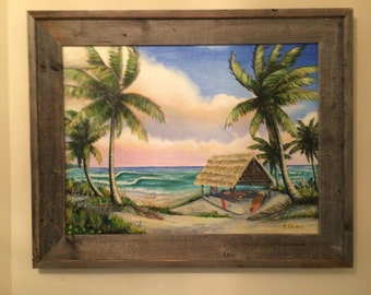 The Cove, Original Oil Painting on Canvas, Old Florida Surfing, Old Florida Art, Vero Beach Art, Florida Beach Art, Surf Art