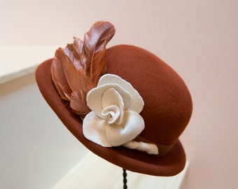 Rust Wool Felt Hat with Handmade Ivory Flower and Vintage Rust Feathers-Church Hat-Polo Matches-Saratoga Races-Holiday Hat-Thanksgiving Hat!