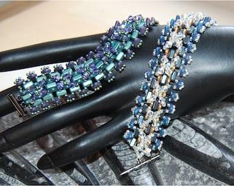 TRIANGULAR KISSES Bracelet Tutorial, Using Seed Beads, 2 Hole Triangles, Crystals/Pearls/FirePolish, Rullas/Bricks