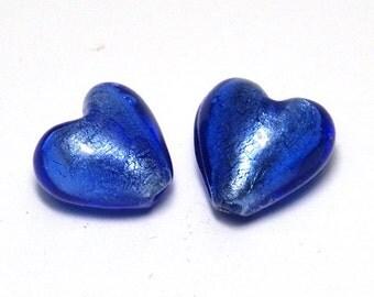 2x Silver Foil Glass Heart Beads 13mm - Blue