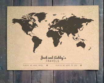 Cork Push Pin Travel Map - 16x20 - CUSTOMIZED - WORLD MAP
