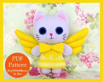 Kitty Angel. Felt Doll. PDF Pattern and Tutorial. Adapted from Toy Story That Time Forgot. Christmas Pattern. Christmas Gift. Christmas Deco