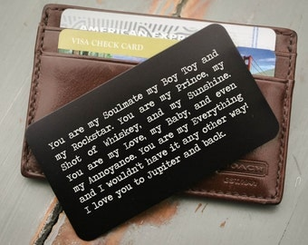 Personalized Wallet Card, Metal Wallet Insert, Custom Wallet Insert, Father of the Bride Gift, Anniversary Gift for Him, Stocking Stuffer