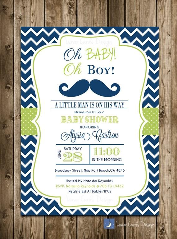 babyshower de bigote invitación Baby Shower poco hombre