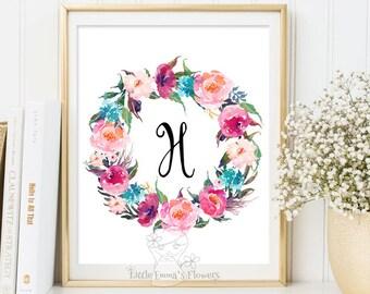Nursery Letter Monogram Art printable flower nursery initials calligraphy monogram nursery print nursery monogram floral monogram Initial 53