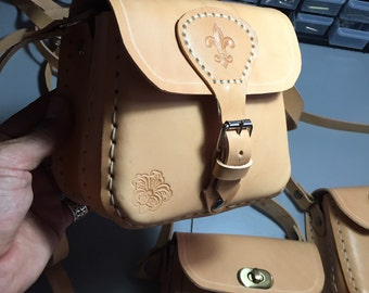 MOD. Trastevere small-with double Pocket (pure natural leather)-Mod. Trastevere small-with double pocket (leather)