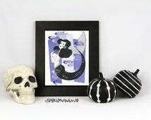 "Pin Up Mermaid Art: Calamity the Siren 8.5x11"" Art Print, Mermaid Pin Up, Goth Mermaid, Creepy Girls Art, Goth Pin Up Art, Pin Up Wall Art"
