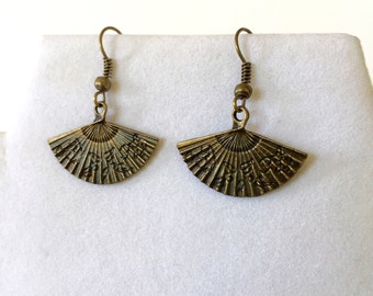 Fan Earrings~Hand Fan Earrings; SILVER or BRONZE; Asian earrings; Geisha; Oriental jewelry; Menopause; Hot Flashes; fan jewelry; Hand fan