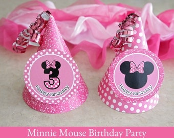 Minnie Mouse Birthday, Minnie Mouse Hat printable, Party Hat Printable, Minnie Mouse Party Printable, 3rd Birthday party hat, printable