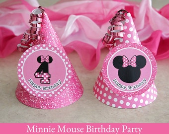 Minnie Mouse Birthday, Minnie Mouse Hat printable, Party Hat Printable, Minnie Mouse Party Printable, 4th Birthday, printable party hat