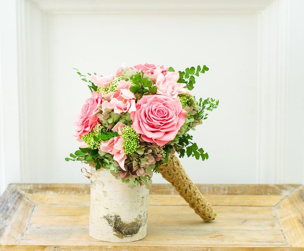 pink and green wedding bouquet preserved flowers dried