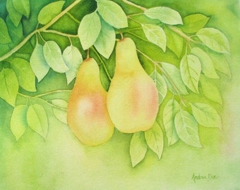 Watercolor Painting Pears in a Tree 8x10 Print Green 8 x 10 Kitchen Decor Wall Art