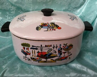 Georges Briard Style 4 Quart Enameled Dutch Oven Pot & Lid Vintage Enamelware Mid Century Modern Cookware Danish Modern Kitchen Decor