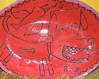 Red Folk Art Ceramic Dog Plate By Animalia  Potterry